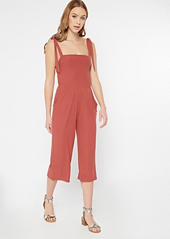 Burnt Red Tie Strap Ribbed Knit Cropped Jumpsuit