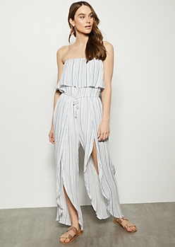 Blue Striped Slit Tulip Hem Jumpsuit