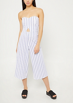 White Strapless Wide Leg Cropped Jumpsuit