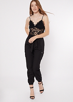 Black Lace Sleeveless Cargo Jumpsuit