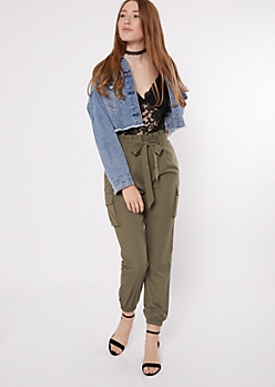 Olive Lace Sleeveless Cargo Jumpsuit