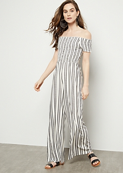 White Striped Smocked Super Soft Wide Leg Jumpsuit