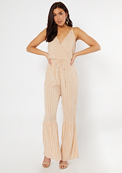 Tan Striped Surplice V Neck Jumpsuit