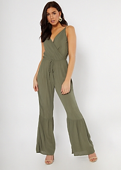 Olive Surplice V Neck Jumpsuit