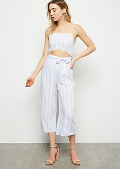 Blue Striped Sleeveless Cutout Cropped Jumpsuit