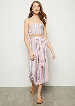 Pastel Striped Sleeveless Cutout Cropped Jumpsuit