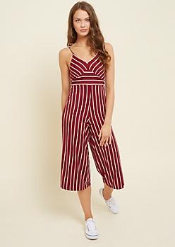 Burgundy Striped V Neck Cropped Jumpsuit