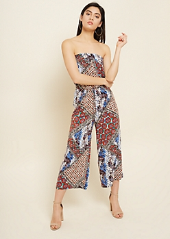Orange Mixed Pattern Cropped Strapless Jumpsuit