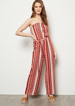Pink Striped Border Print Wide Leg Jumpsuit