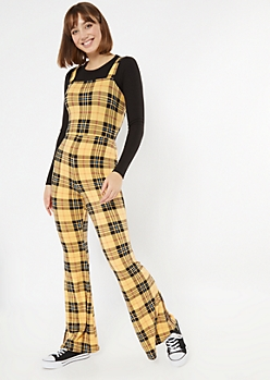 Yellow Plaid Flare Jumpsuit
