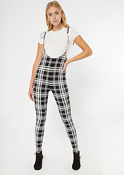 Plaid Pinafore Jumpsuit And Baby Tee 2-Piece Set