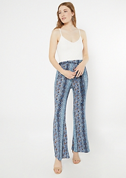 Blue Paisley Print Super Soft Flare Jumpsuit