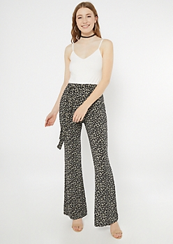 Black Daisy Print Super Soft Flare Jumpsuit