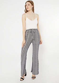 White Border Print Super Soft Flare Jumpsuit