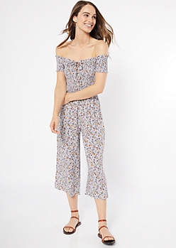Gray Floral Print Lace Up Cropped Jumpsuit