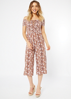 Burnt Orange Floral Print Lace Up Cropped Jumpsuit