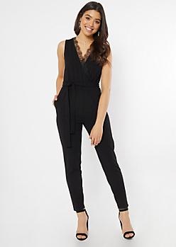 Black Lace V Sleeveless Skinny Jumpsuit