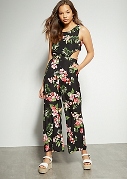 Black Tropical Floral Print Cutout Back Jumpsuit