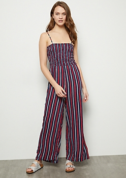 Navy Striped Smocked Sleeveless Jumpsuit