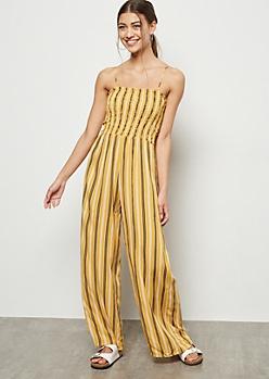Mustard Striped Smocked Sleeveless Jumpsuit