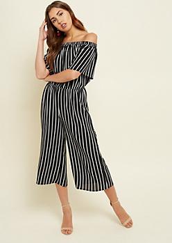 Black Striped Pattern Off Shoulder Culottes Jumpsuit