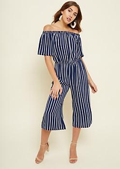 Navy Striped Pattern Off Shoulder Culottes Jumpsuit