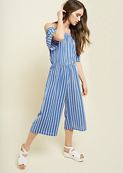 Blue Striped Pattern Off The Shoulder Culottes Jumpsuit