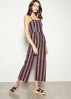 484c34b7714 Black Striped Sleeveless Jumpsuit