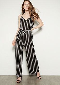 Black Striped V Neck Cutout Back Jumpsuit
