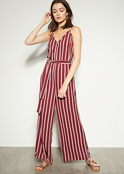 Burgundy Striped V Neck Cutout Back Jumpsuit
