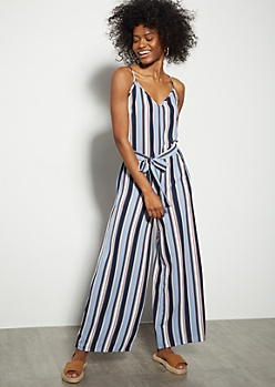 Blue Striped Crepe Wide Leg Jumpsuit
