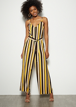 Mustard Striped Crepe Wide Leg Jumpsuit