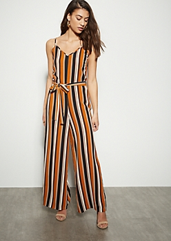 9f8fd034444 Burnt Orange Striped Crepe Wide Leg Jumpsuit