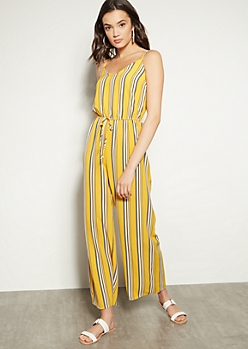 a1ac373531 Yellow Striped V Neck Wide Leg Jumpsuit