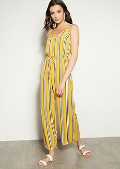 c6007c3c5c0 Yellow Striped V Neck Wide Leg Jumpsuit