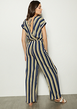 30fb395287 Navy Striped Deep Back Dolman Jumpsuit