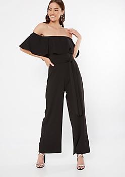Black Flounce Wide Leg Jumpsuit