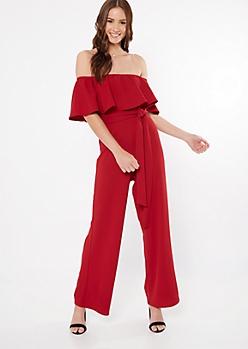 Red Flounce Wide Leg Jumpsuit