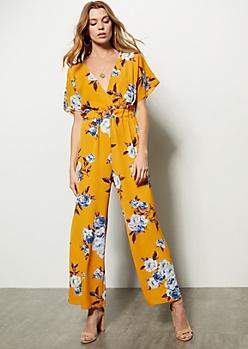 1777268778a3 Mustard Floral Print V Wide Leg Jumpsuit