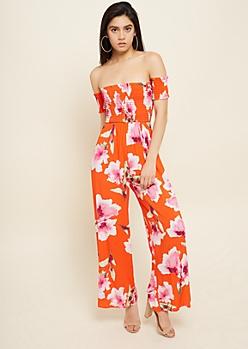 Red Floral Print Off The Shoulder Smocked Jumpsuit