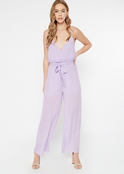 Lavender Surplice Paperbag Waist Jumpsuit