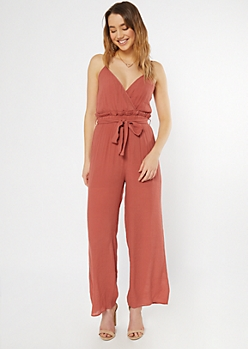 Burnt Red Surplice Paperbag Waist Jumpsuit
