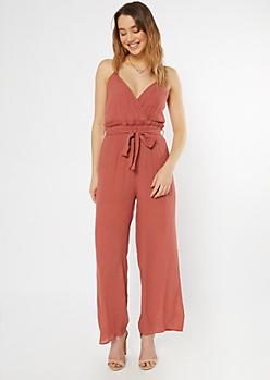 Burnt Red Surplice Paperbag Waist Jumpsuit