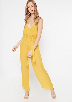 Mustard Surplice Paperbag Waist Jumpsuit