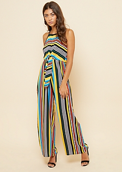 Yellow Striped High Neck Tie Front Jumpsuit