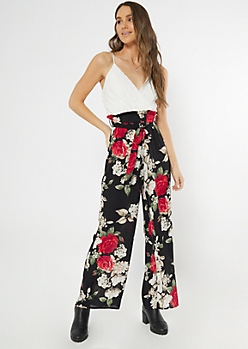 Black Floral Print Paperbag Waist Jumpsuit