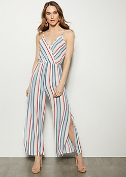 ac428b4e0d7 Ivory Striped Sleeveless Side Slit Jumpsuit