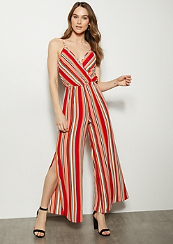 Red Striped Sleeveless Side Slit Jumpsuit