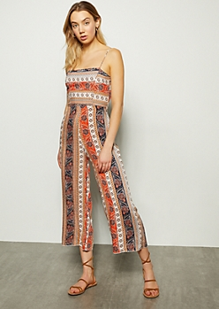 Orange Border Print Tie Back Cutout Jumpsuit