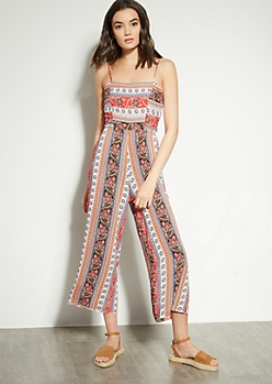 0f607981189d Red Border Print Tie Back Cutout Jumpsuit